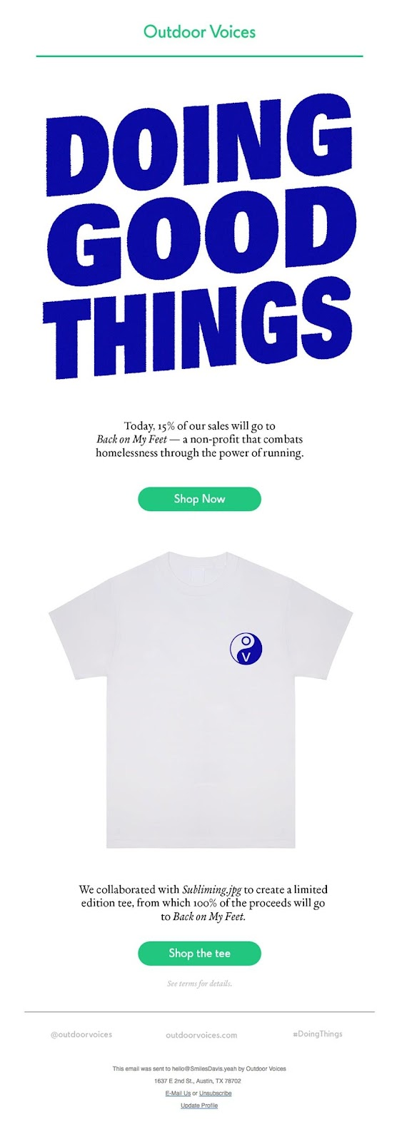 Outdoor Voices' limited edition tee and one-day sale
