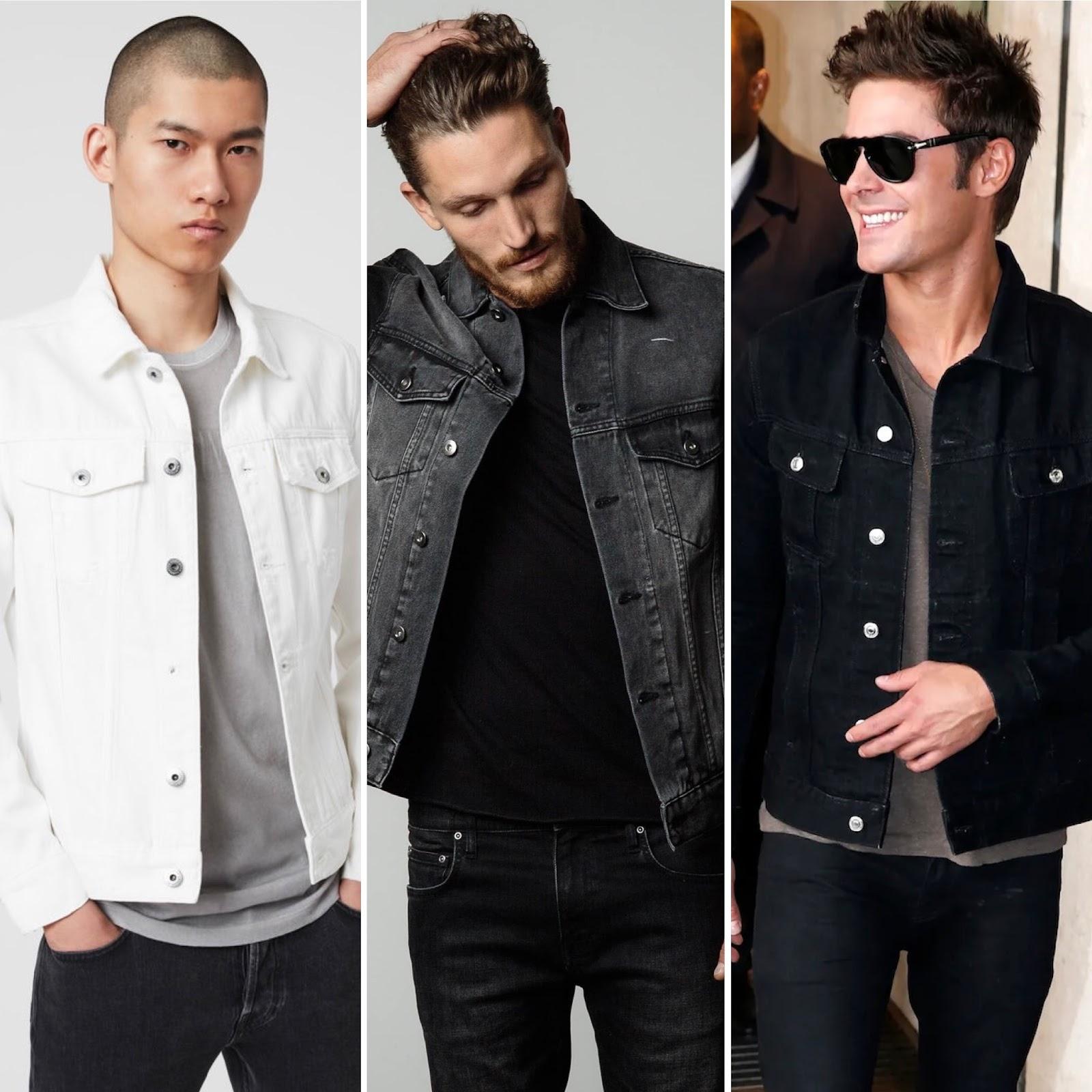 Men wearing white grey and black denim jackets