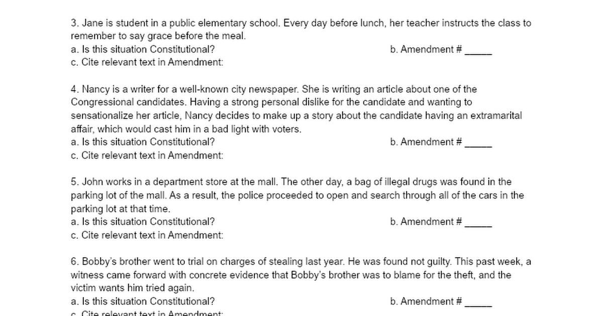 Bill of Rights Scavenger Hunt Google Docs – Ratifying the Constitution Worksheet
