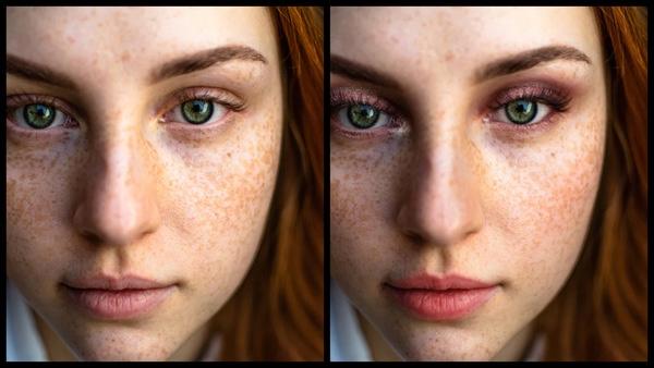 Montagem com 2 fotos da mesma mulher mostrando o antes e depois da edição da maquiagem Electrify do AirBrush