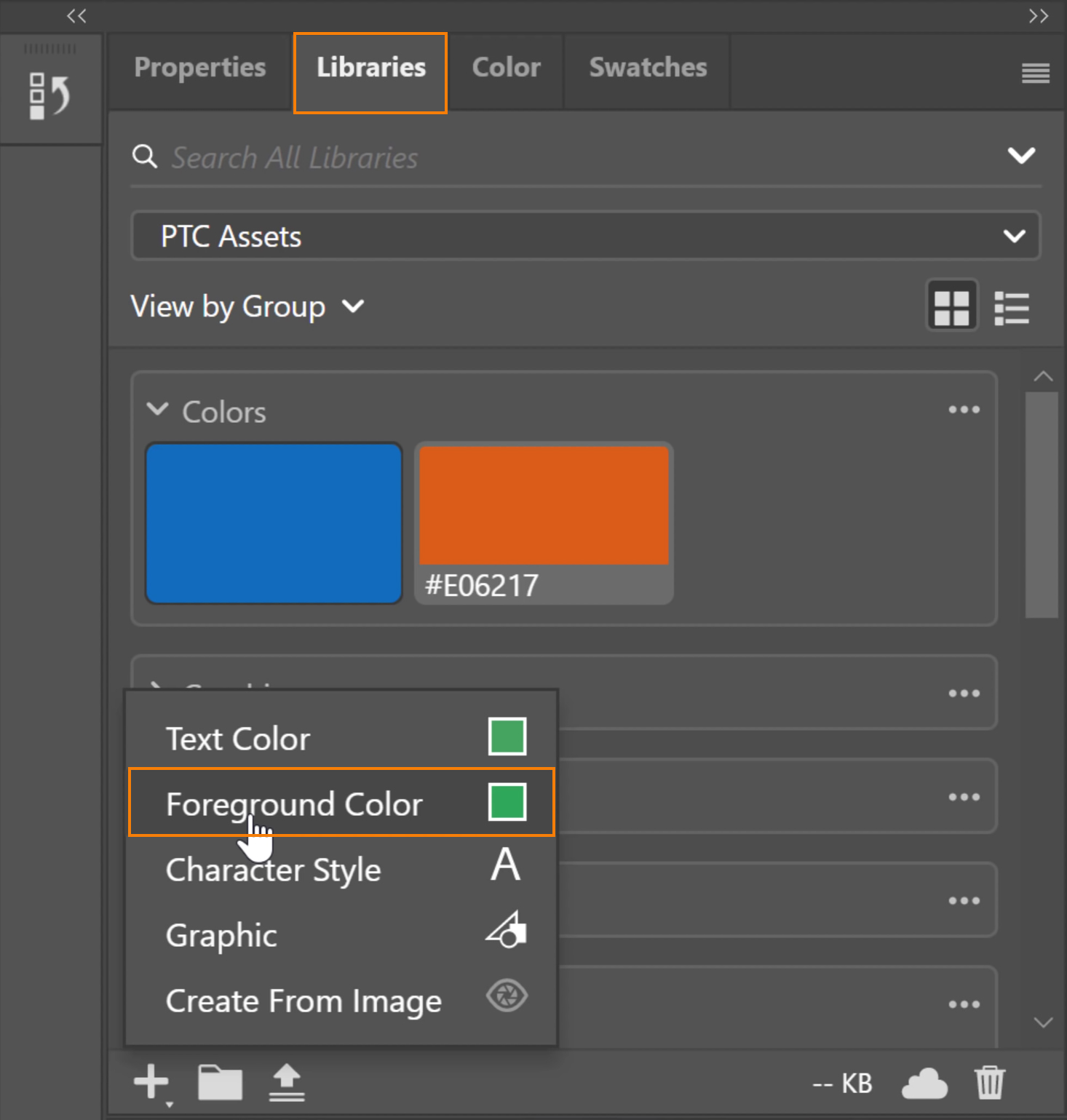 select the current Foreground color or the Text color and add it to your Libraries panel
