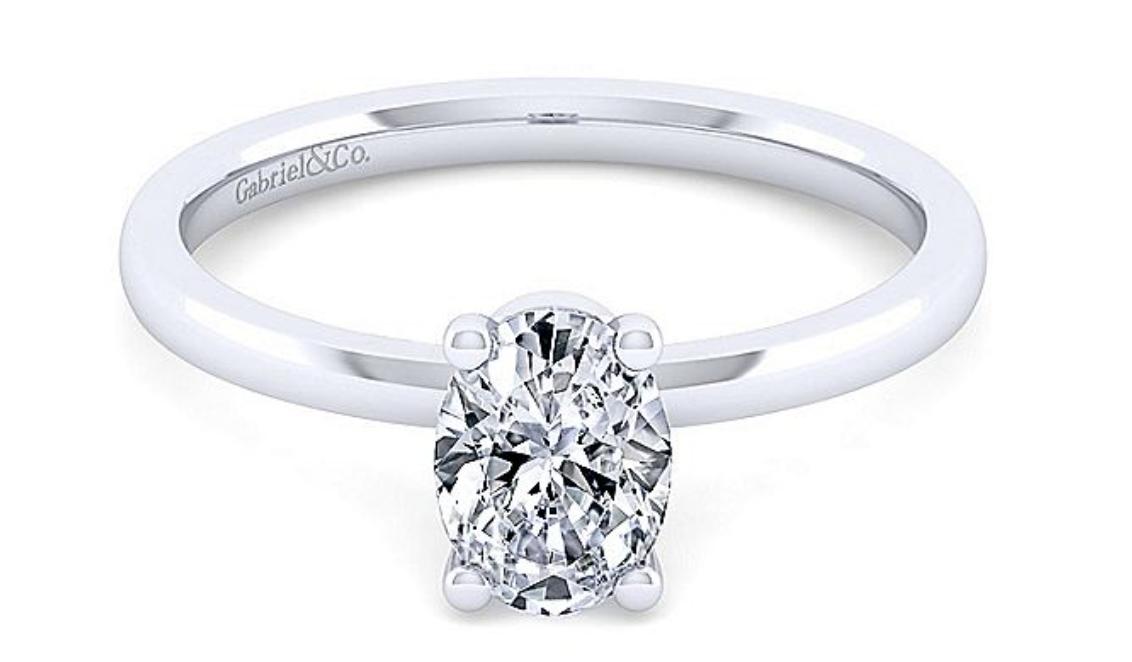 white gold oval diamond
