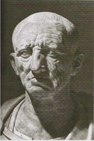 Bust of a Roman aristocrat in advanced age wearing a toga.
