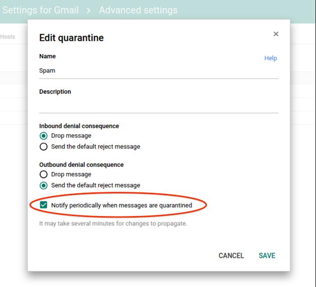 Email notifications in admin quarantines