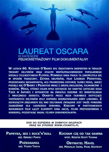 Tył ulotki filmu 'Zatoka Delfinów'