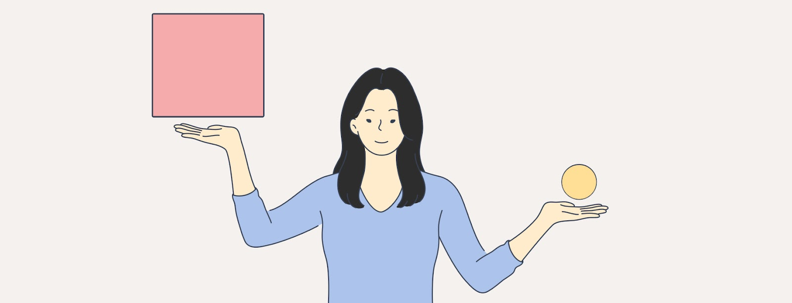 Illustration of woman balancing shapes in the air