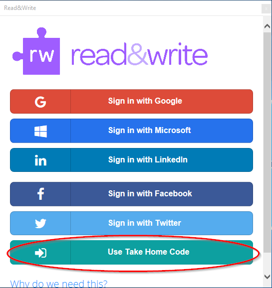 Use Take Home Code Button