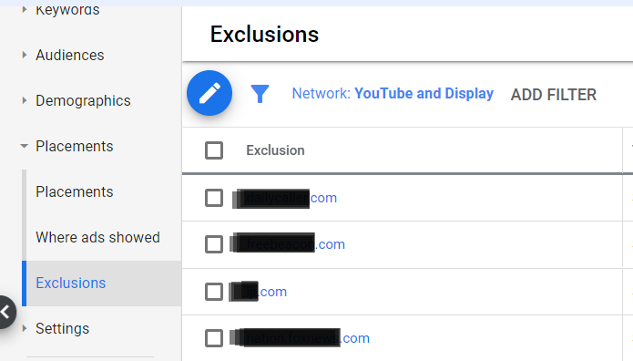 how to exclude websites from a display ads campaign.