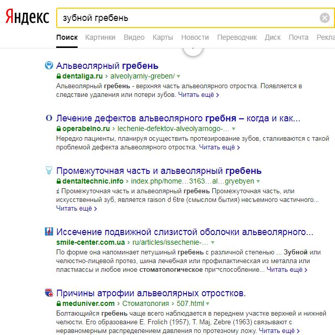 пример релевантной выдачи Яндекс