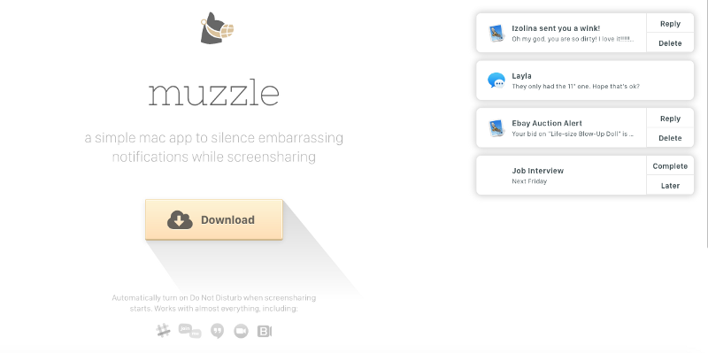A screenshot of Muzzle's landing page with humorous notofications.
