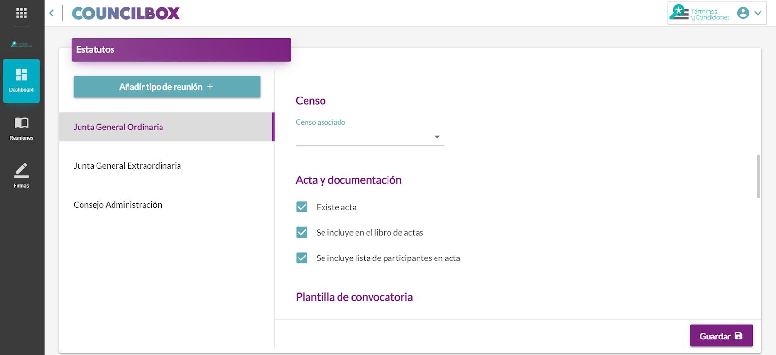 Configurando la convocatoria en Councilbox