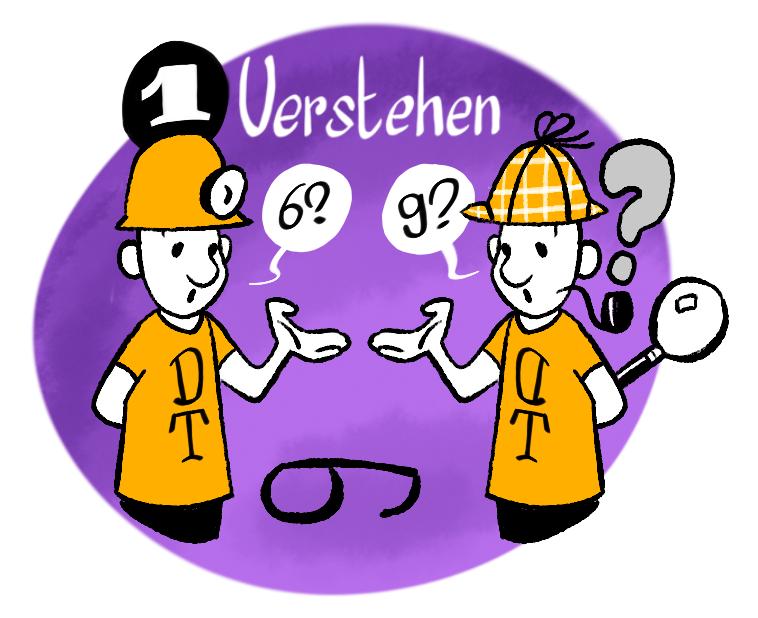 """Phase 1 des Design Thinking Prozesses: """"Verstehen""""."""