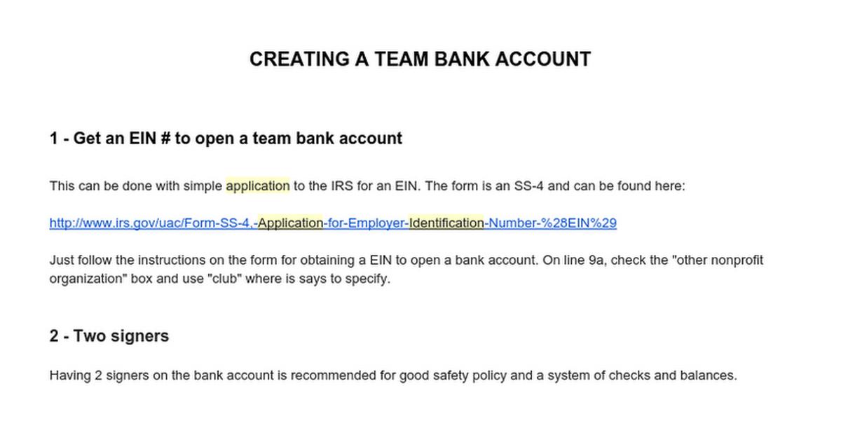 Creating A Team Bank Account Google Docs