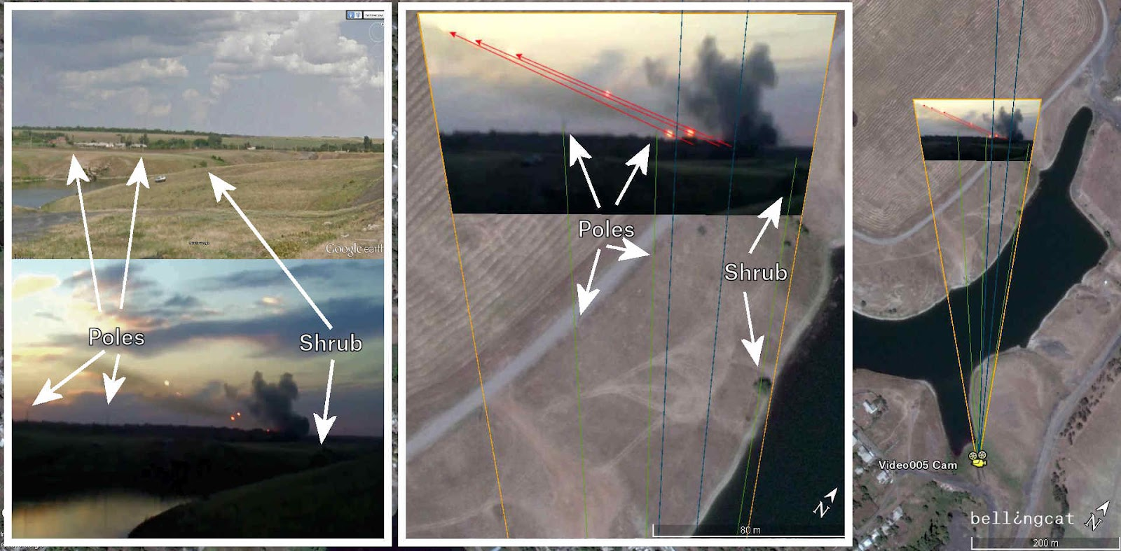 Camera location of Video005 – blue lines in the middle point toward the firing position