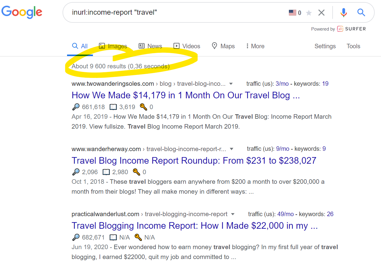 Google's search results for income reports