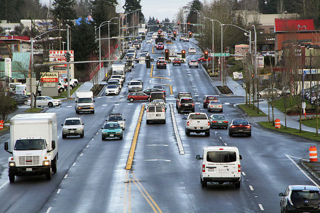 The view, looking east, of NE 85th Street from the future station. (Kirkland Reporter)