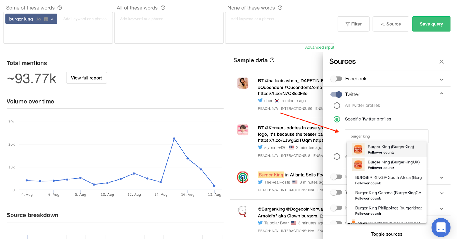 Setting up queries for Twitter competitor analysis