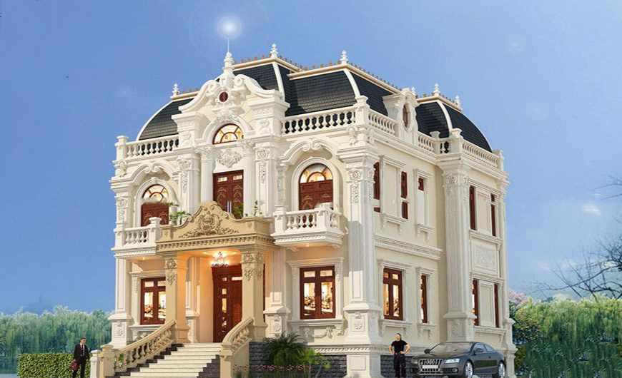 Thiết kế biệt thự 2 tầng kiểu Pháp