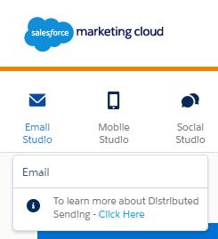Capture d'écran montrant la barre de navigation, y compris Email Studio et son seul élément de sous-navigation: E-mail.
