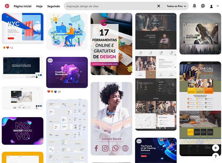 pesquisa de inspiração de design de sites no pinterest