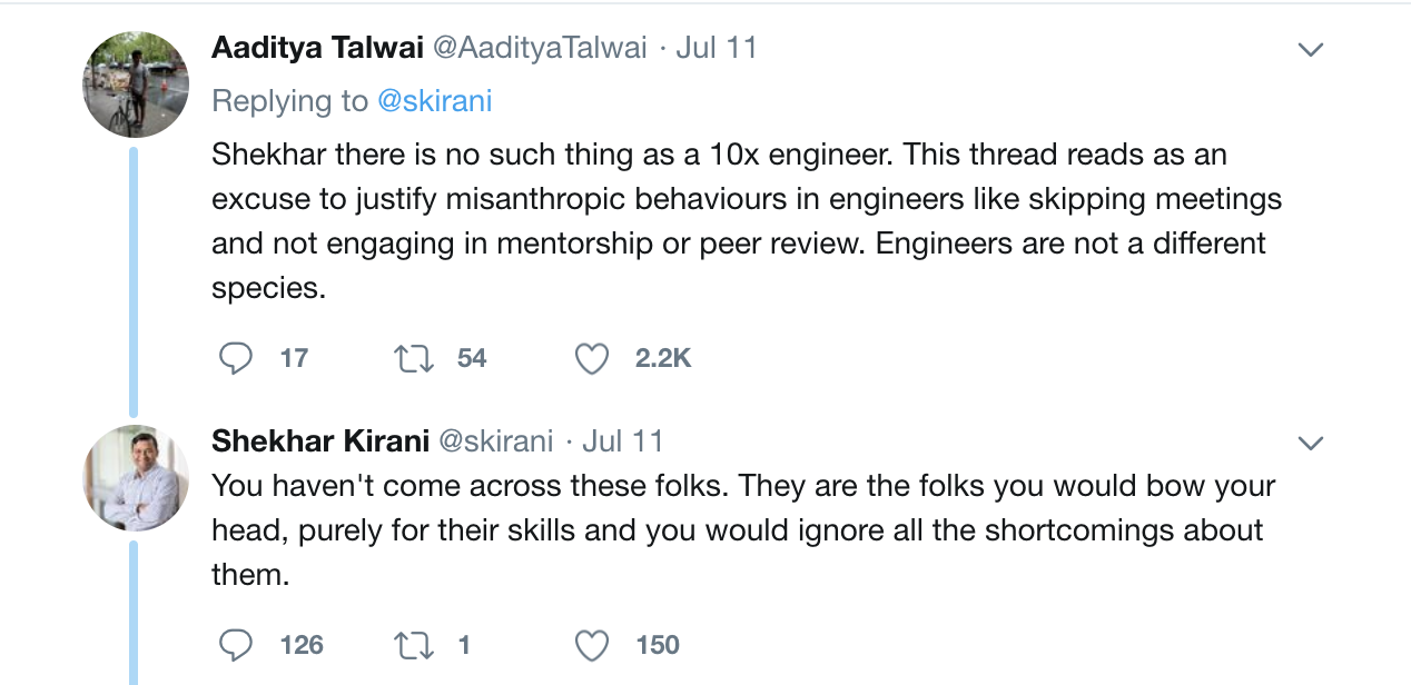 Someone responding directly to Shekhar explaining that there is no such thing as a 10x engineer and him disagreeing.