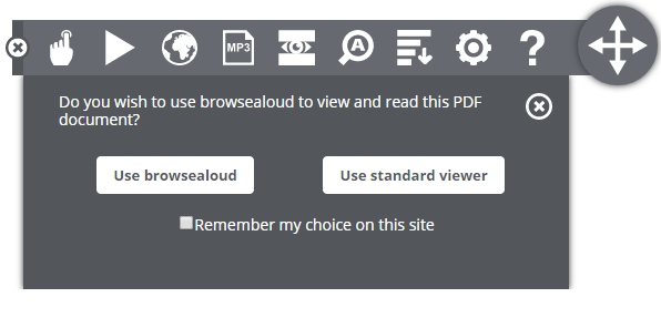 Browsealoud PDF window