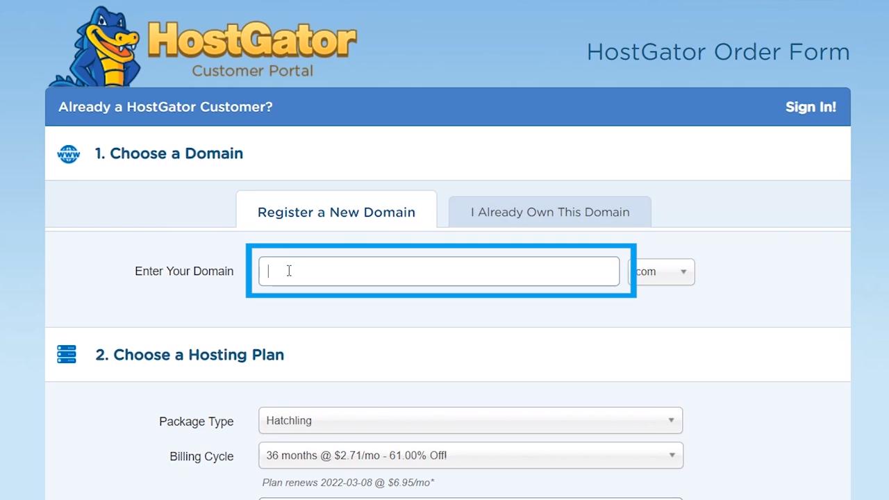 wordpress site hostgator domain name