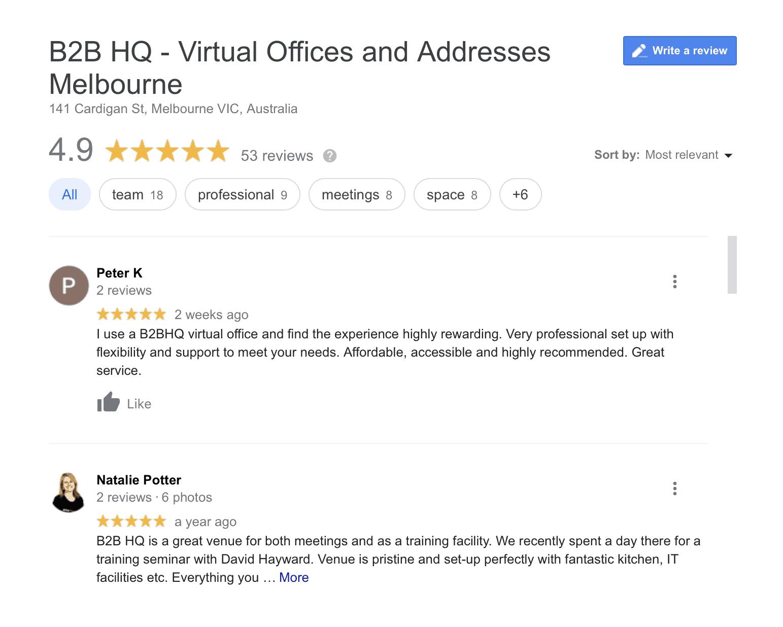 B2B HQ Virtual Offices Positive Google Reviews