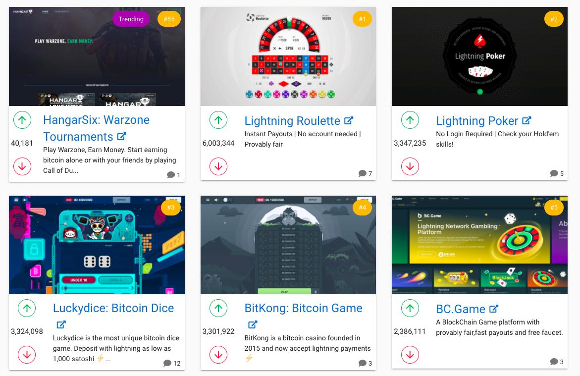Страница Accept Lightning — каталога интернет-магазинов, в которых вы можете расплатиться Lightning Network.