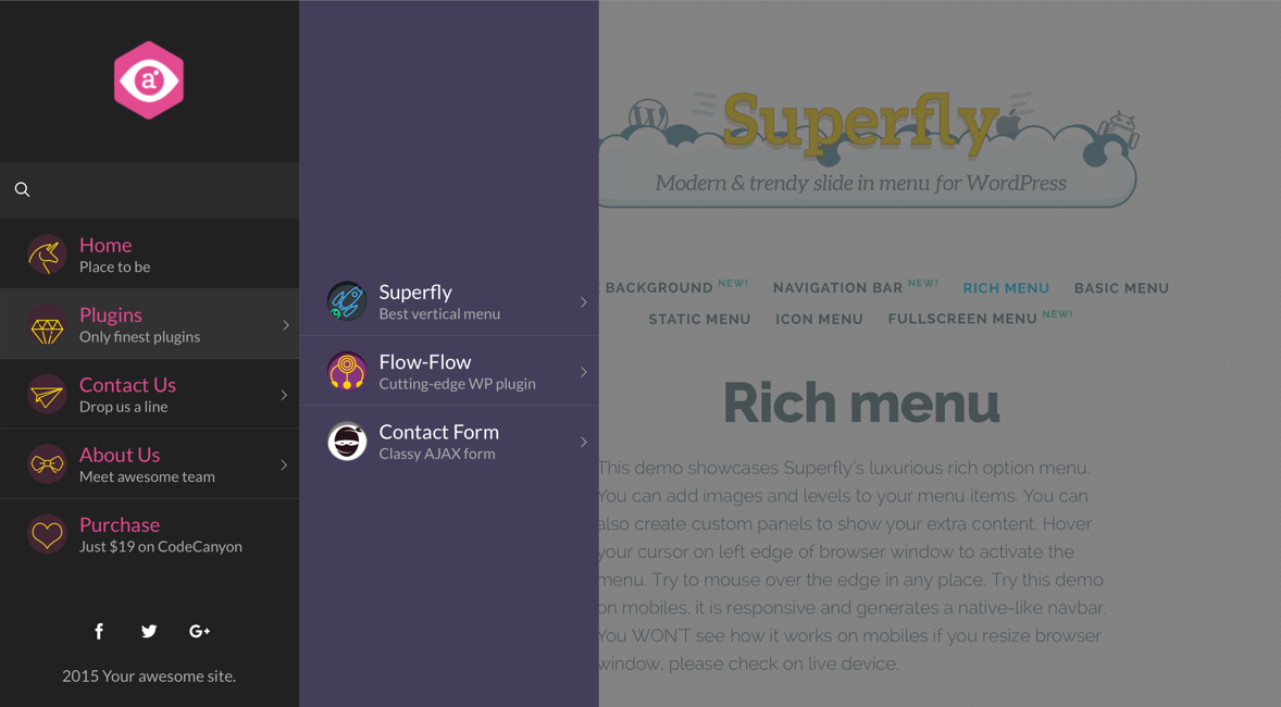 WordPress Mega Menu Example Superfly