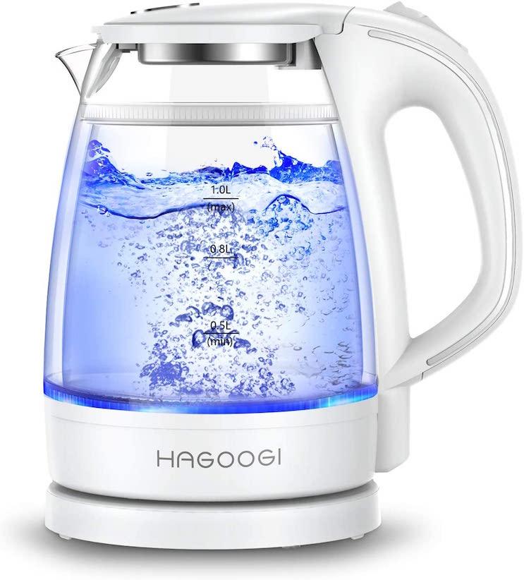 HAGOOGI(ハゴオギ) 電気ケトル ガラス 二重構造 ホワイト