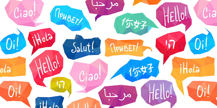 "[Image is a collection of multi-colored speech bubbles that say ""Hello!"" in many languages.]"
