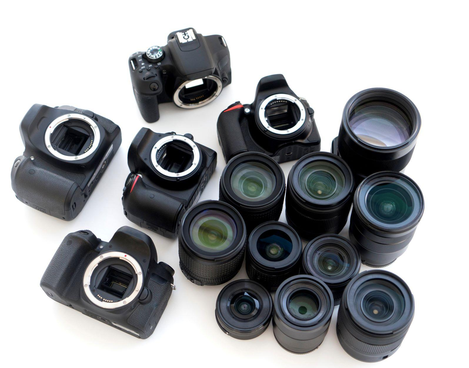 Overhead shot of DSLR collection