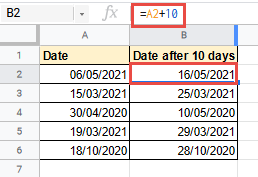 google sheets add days to date