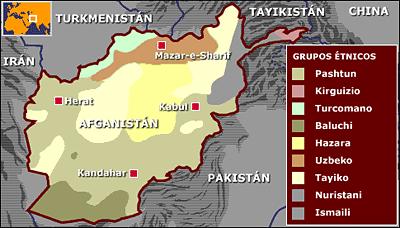 Mapa de Afganistán con la distribución de los grupos étnicos mayoritarios.
