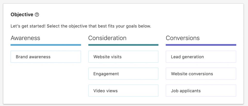 obiettivi linkedin ads