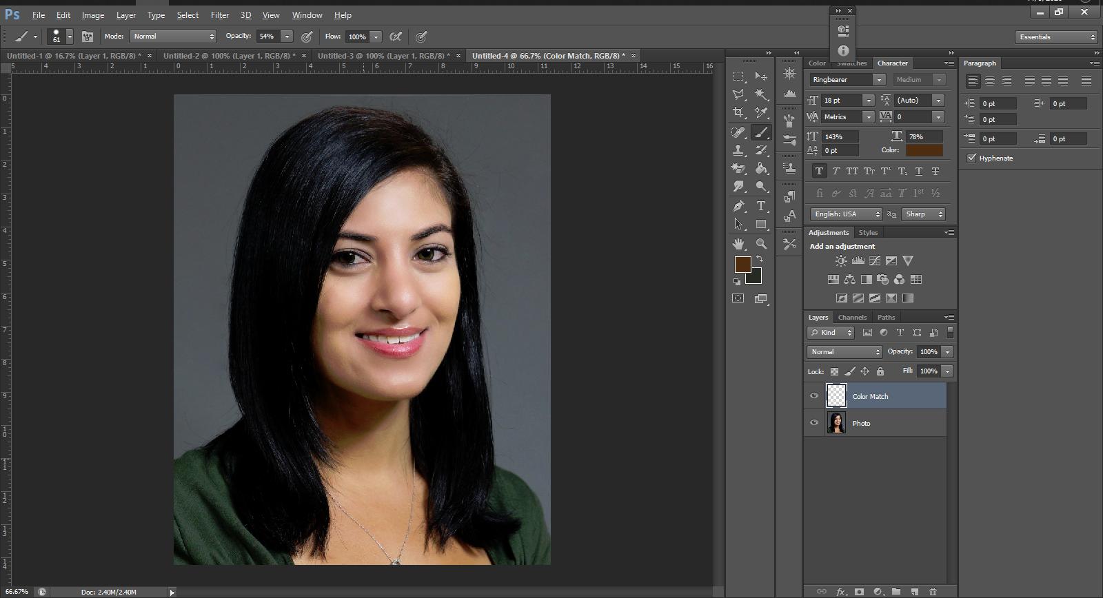 skin tone photoshop screenshot
