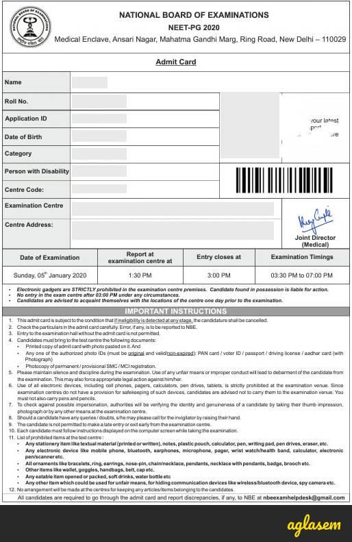 NEET PG 2021 Admit Card