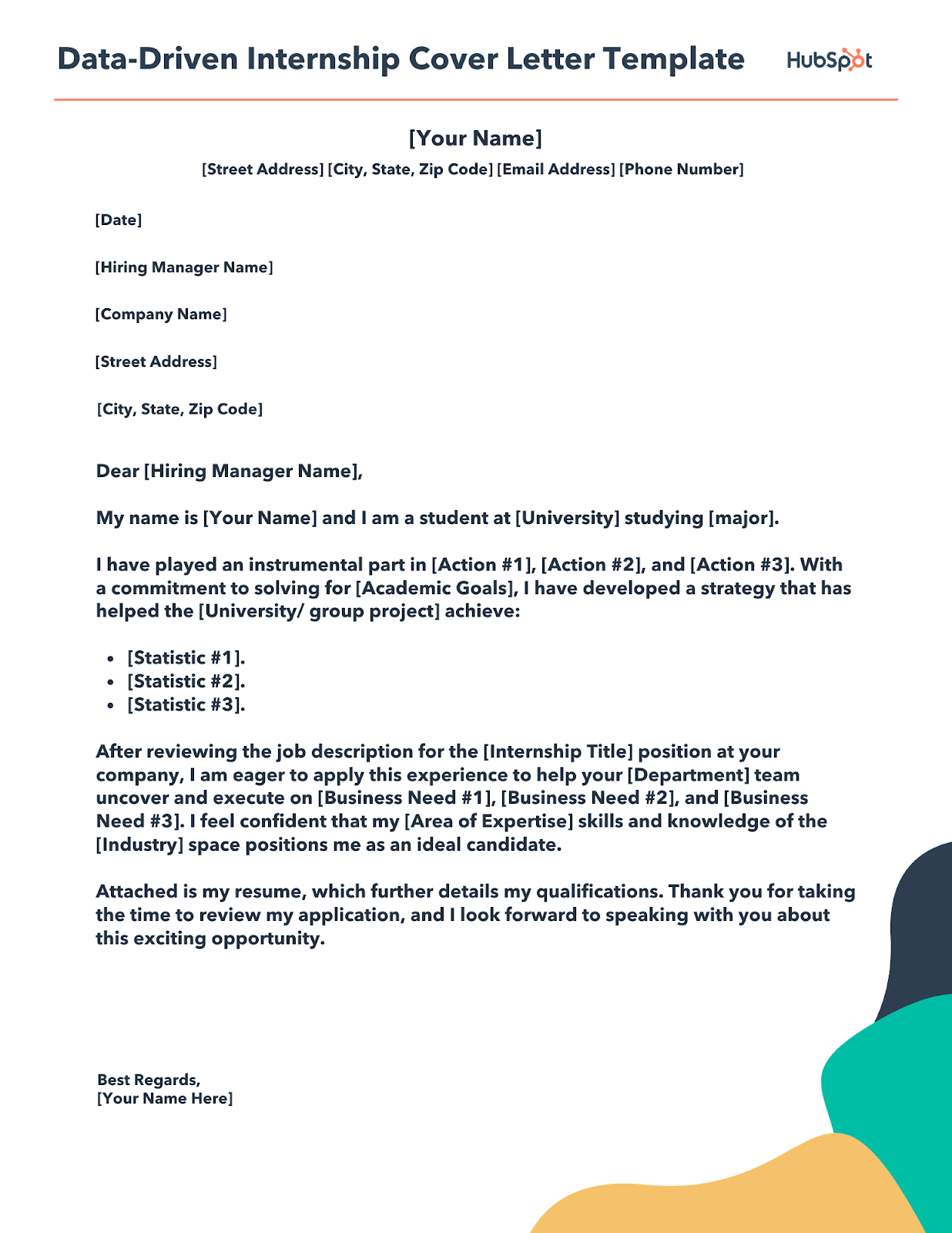 data-driven internship cover letter template