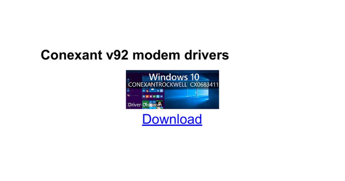 Conexant Usb Modem Driver Windows 10