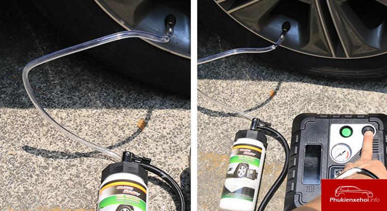 Với phụ kiện cao cấp như bộ bơm ô tô tự vá bạn có thể tự mình khắc phục sự cố thủng lốp, xì hơi nhanh chóng