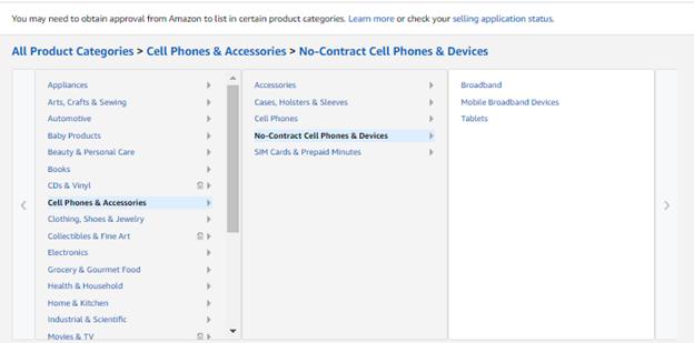 amazon listing categories