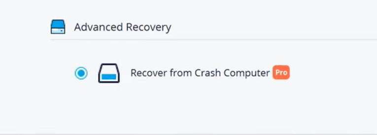 click on recover from crash computer