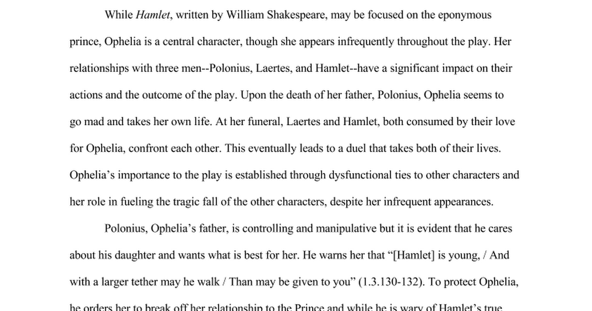 an analysis of the character ophelia in hamlet a play by william shakespeare The article analyzes the problems confronting hamlet, the main character in william shakespeare's play hamlet, by asking why he is aroused to react in turn with fear, desire, contempt and disgust towards gertrude, ophelia and the ghost.