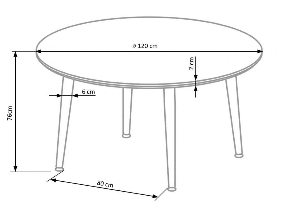Круглый стол на 4 ножках, выполненных из алюминия