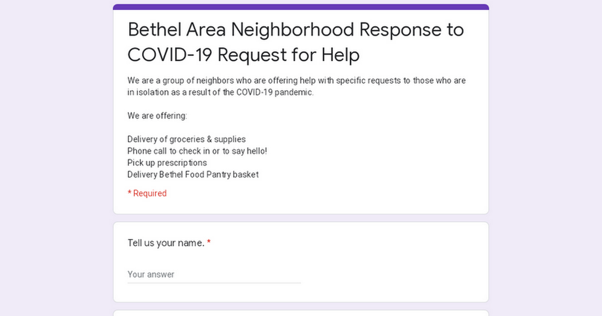 Bethel Area Neighborhood Response to COVID-19