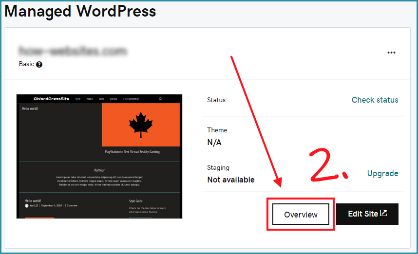 Detail about your Managed wordpress site
