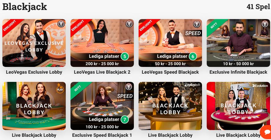 Blackjack hos LeoVegas.