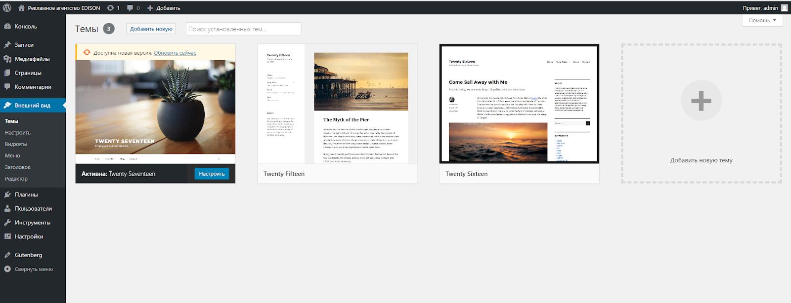 Раздел темы в Wordpress