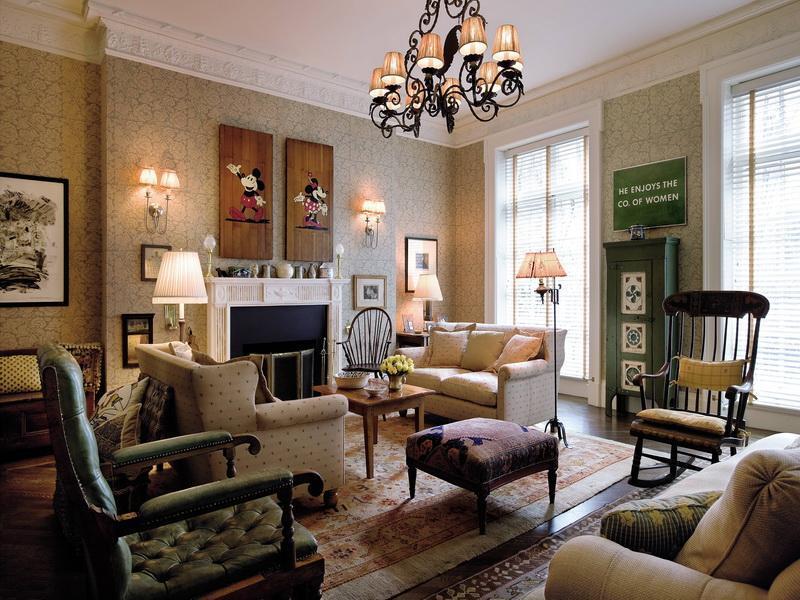 Ruang tamu dengan desain interior bergaya vintage - source: pinterest.com
